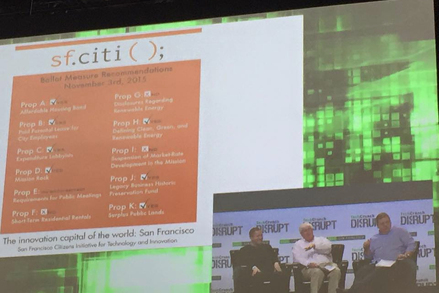 sf.citi Board Chairman Ron Conway discusses sf.citi's election slate card at Tech Crunch Disrupt 2015
